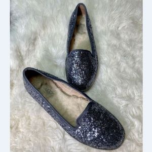 UGG Womens Shoes Blue Glitter Slippers Flats 7